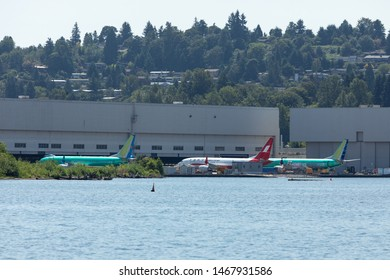 Renton, Washington / USA - July 31 2019: Backlog of Boeing 737 MAX airliners parked outside the Renton factory, home to the 737 MAX 8, MAX 9, and MAX 10 production lines