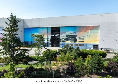 Renton, Washington / USA - July 31 2019: Boeing 737 MAX airliner factory in Renton, home to the 737 MAX 8, MAX 9, and MAX 10 manufacturing lines