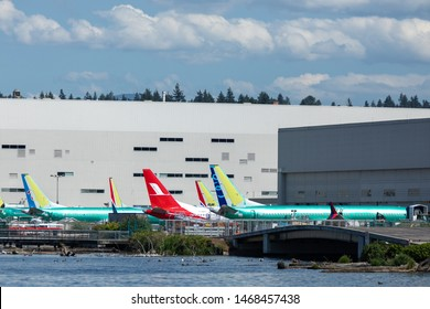 Renton, Washington / USA - July 31 2019: Grounded Boeing 737 MAX airliners parked outside the Renton factory, home to the 737 MAX 8, MAX 9, and MAX 10 production lines