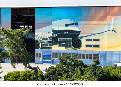 Renton, Washington / USA - July 31 2019: Boeing 737 MAX airliner factory in Renton, home to 737 MAX 8, MAX 9, and MAX 10 production lines