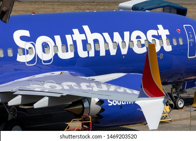 Renton, Washington / USA - July 31 2019: Grounded Southwest Boeing 737 MAX airplane, parked at the Renton airliner factory