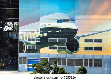 Renton, Washington / USA - July 31 2019: Boeing 737 MAX airliner factory in Renton, home to the 737 MAX 8, MAX 9, and MAX 10 production lines
