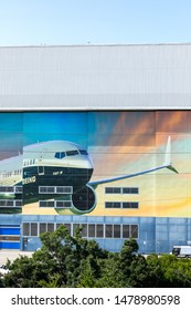 Renton, Washington / USA - July 31 2019:  Boeing 737 MAX factory in Renton, where the 737 MAX 8, MAX 9, and MAX 10 models are manufactured, with space for text on top