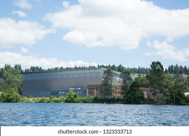 Renton, Washington / USA - June 21 2017: Virginia Mason Athletic Center (VMAC) on the shore of Lake Washington, the training facility for the Seattle Seahawks football team