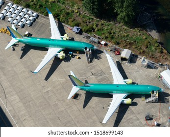 Renton, Washington / USA - September 09 2018: Two Boeing 737 NG parked outside the company factory at  Renton Airport.