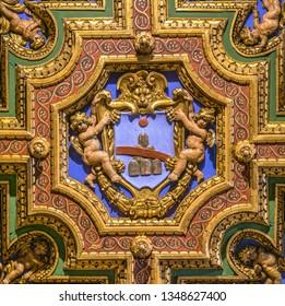 Renzi family coat of arms in the Church of San Girolamo della Carità in Rome, Italy. March-24-2019