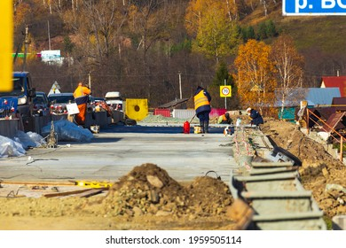 repair of an automobile bridge across the Bolshoi Inzer river on the Beloretsk Ufa highway on a sunny autumn day.