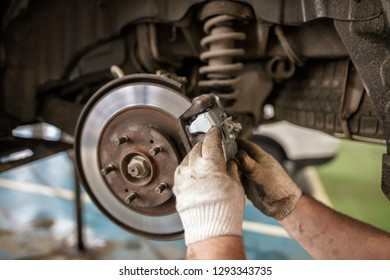 Repair of brake system on car wheels .