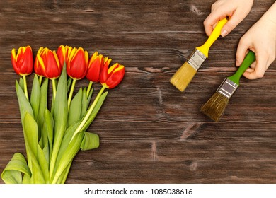 Repair color brush concept with spring flowers on the wooden table flatlay