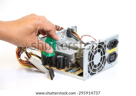Repair Computer Power Supply On White Stock Photo (Edit Now ...