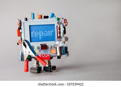 Repair computer service concept. Robot engineer with pliers and light bulb. alert warning message on blue screen monitor head. gray background, shallow depth of field.