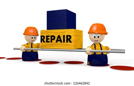 repair at the  construction site with tiny man 3d illustration