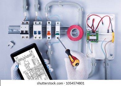 Repair of electrical panel. Top view.