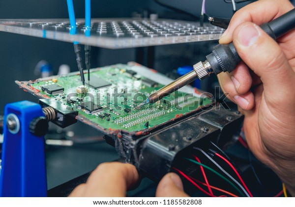 Repair Electronic Devices Soldering Circuit Board Stock