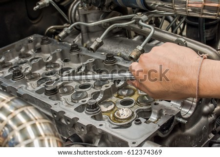 Repair Engine Cylinder Head By Mechanics Stock Photo (Edit