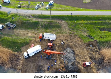 Repair of the gas pipeline section passing through the water channel. Repair work.