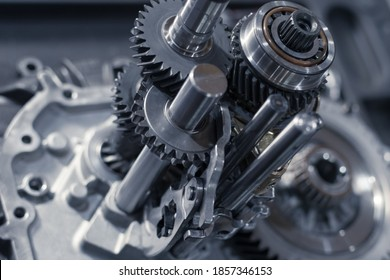 repair of a gearbox in a car workshop. the insides of the manual transmission. Close up