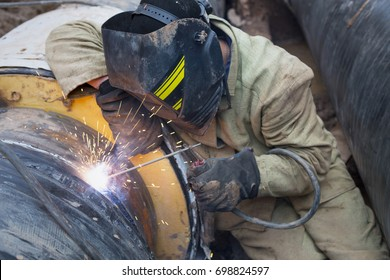 Workers Welding Steel Pipes Flange Stock Photo (Edit Now