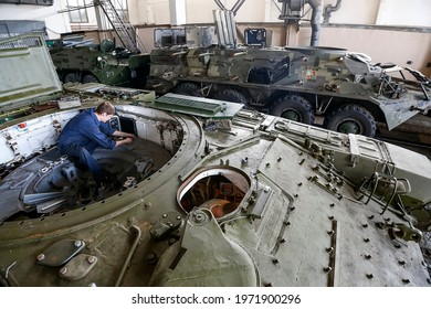 Repair of heavy military equipment at a plant in Kyiv, Ukraine. August 2015