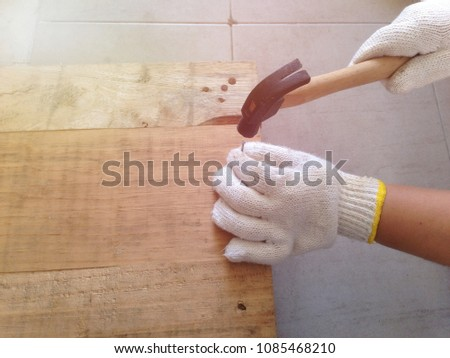 c308294140 Repair Pallet Using Hammer Nail Hammering Stock Photo (Edit Now ...