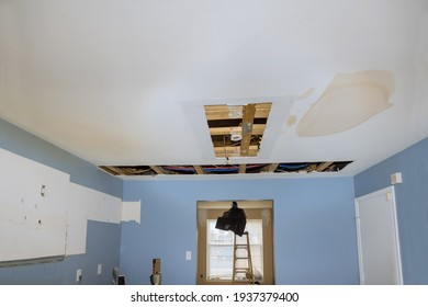 Repair plumbing line with damaged leaking water hose pipe in a ceiling