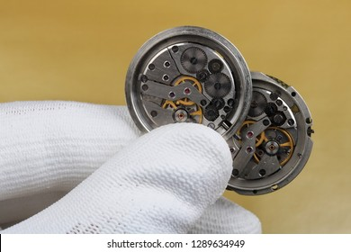 Repair and restoration of old dirty broken  mechanical watches macro concept