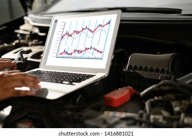 Repair service car Auto mechanic working in garage car mechanic with wrench in garage