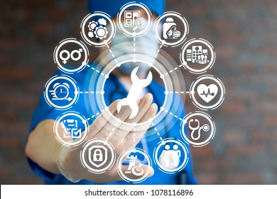 Repair Spanner Medical Cure Service. Healthcare concept. Doctor presses wrench button on a virtual interface. Fix Health.
