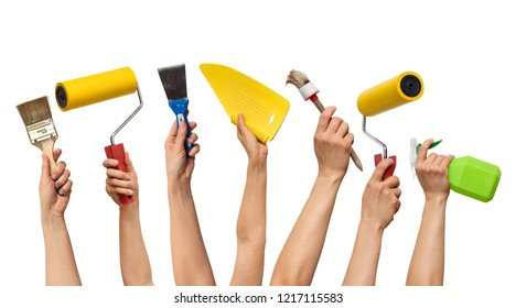 repair tool kit in hands, on white background