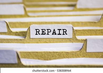 Repair word on card index paper