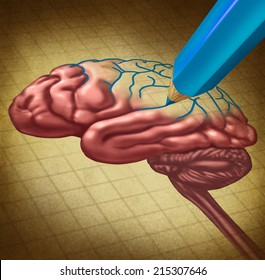Repairing the brain and restoring lost memory medical concept as a human organ with a missing portion redrawn with a pencil as a symbol and �metaphor for doctor care in neurology or brainwashing.