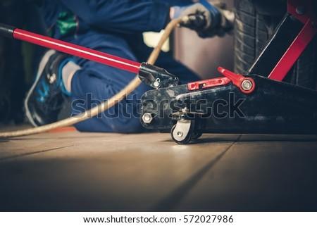 Repairing Car Garage Portable Car Lift Stock Photo (Edit Now