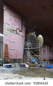 Repairing a propeller in a dock in Rotterdam, Holland