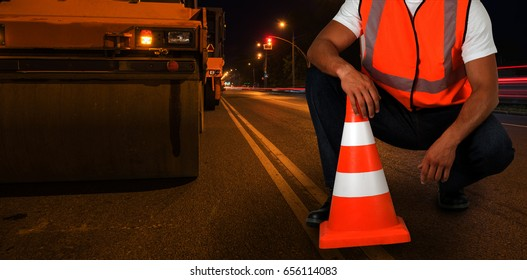 repairing the road in the night city