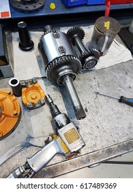 Repairing service shop work table with instruments and spare parts