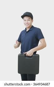 Repairman with Box machine