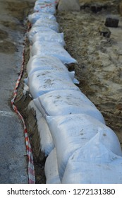 repairs.The wall of sandbags. sandbags wall, protection, flood