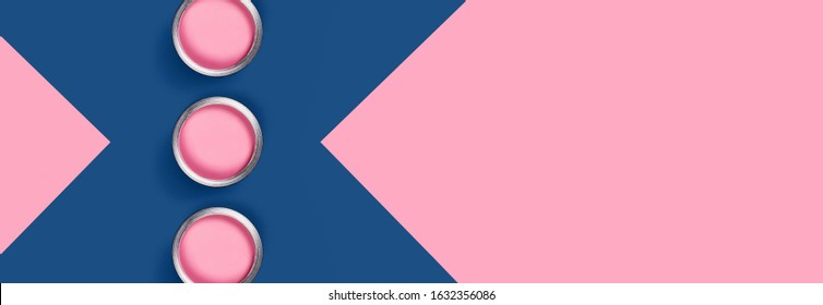 Repare web banner. Classic Blue and pink background with pink paint jars. Flat lay, top view, copy space.