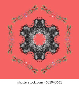Repeated texture for surface, wrapping paper, on colorful background. Winter snowflake, background. Isolated nice snowflakes on colorful background.