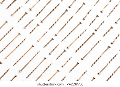A repeating pattern of small and large screws on an isolated background.