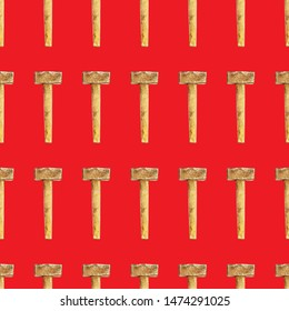 Repeating sledgehammer seamless pattern on red background