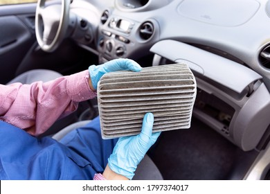 Replacement of dirty cabin pollen air filter for a car