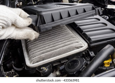 replacing the air filter for car, automotive spare part