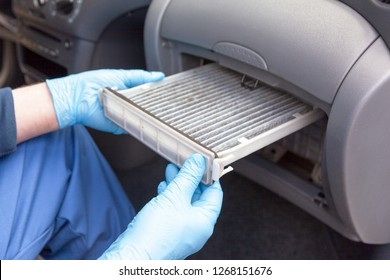 Replacing dirty cabin pollen air filter for a car