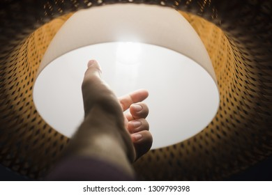 Replacing light bulbs. Classic rattan light in the interior. Simple and elegant style. Light and energy source. LED technology to save electricity.