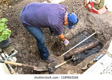 Replacing an old broken sewer line with a brand new one