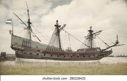 Replica of 17th century Dutch ship Batavia. Filtered textured image in washed-out vintage look.