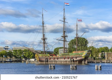 A replica (1985) of ship Amsterdam was moored next to Netherlands Maritime Museum in Amsterdam, Netherlands. VOC ship Amsterdam was an 18th century cargo ship of Dutch East India Company.