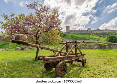 Replica of an ancient catapult with Belgrade Fortress (Kalemegdan) in the background, Belgrade, Serbia