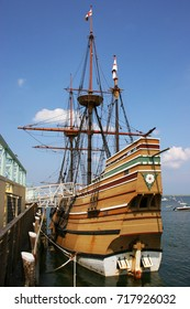 replica of ancient Dutch Flute ship anchored at quay